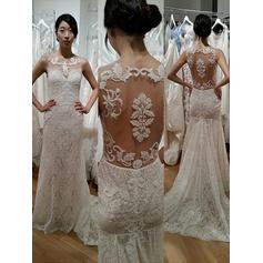 Simple Scoop Sheath/Column Wedding Dresses Sweep Train Lace Sleeveless