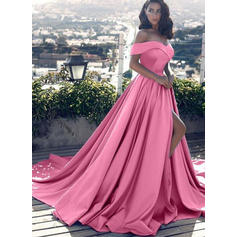 A-Line/Princess Off-the-Shoulder Court Train Satin Evening Dresses With Ruffle