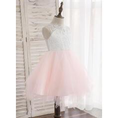 Vestidos princesa/ Formato A Coquetel Vestidos de Menina das Flores - Tule/Renda Sem magas Decote redondo com Beading/Curvado (010148829)
