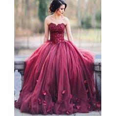 Ball-Gown Floor-Length Evening Dresses Sweetheart Tulle Sleeveless