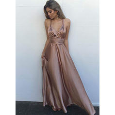 A-Line/Princess V-neck Charmeuse Sleeveless Floor-Length Evening Dresses