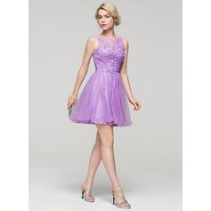 Tule Alças largas regulares Vestidos princesa/ Formato A Decote redondo Vestidos de boas vindas (022214086)