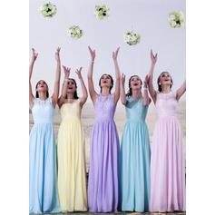 Bridesmaid Dresses Scoop Neck A-Line/Princess Sleeveless Floor-Length (007144961)