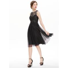 Tule Alças largas regulares Vestidos princesa/ Formato A Decote redondo Vestidos de boas vindas (022214144)
