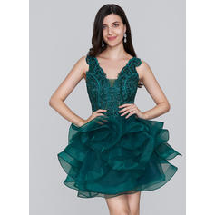 Glamorous Organza Homecoming Dresses A-Line/Princess Short/Mini V-neck Sleeveless