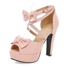 Women's Peep Toe Platform Pumps Chunky Heel Leatherette With Bowknot Buckle Wedding Shoes