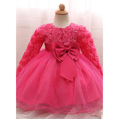 A-Line/Princess Scoop Neck Floor-length Tulle Christening Gowns With Bow(s) (2001218006)