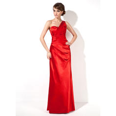 Chic One-Shoulder Sheath/Column Charmeuse Evening Dresses