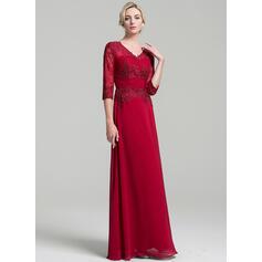 Vestidos princesa/ Formato A Decote V Longos Tecido de seda Vestido para a mãe da noiva com Pregueado (008091956)