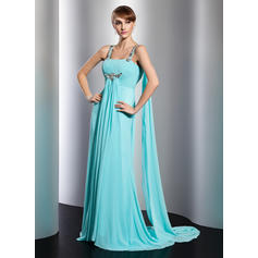 Empire Watteau Train Evening Dresses With Ruffle Beading (017014806)