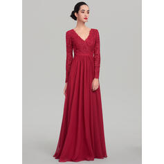 A-Line/Princess V-neck Floor-Length Chiffon Evening Dress (017137360)