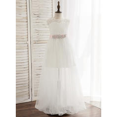A-Line/Princess Floor-length Flower Girl Dress - Tulle/Lace Sleeveless Scoop Neck With Sash/Rhinestone (010148805)