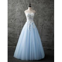 Tulle Sleeveless A-Line/Princess Prom Dresses Sweetheart Lace Beading Appliques Lace Floor-Length