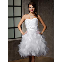 Knee-Length Sleeveless A-Line/Princess - Tulle Wedding Dresses (002213264)