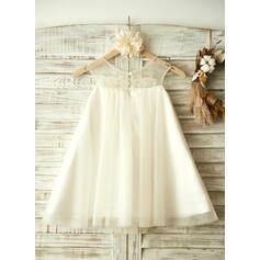 Vestidos princesa/ Formato A Coquetel Vestidos de Menina das Flores - Tule Sem magas Decote redondo com Beading/Apliques de Renda (010104956)