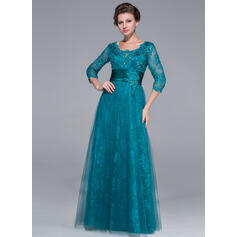 A-Line/Princess Scoop Neck Floor-Length Tulle Lace Mother of the Bride Dress With Ruffle Beading Sequins (008025713)