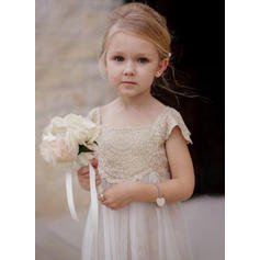 2018 New Square Neckline A-Line/Princess Flower Girl Dresses Ankle-length Chiffon/Lace Sleeveless