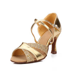 Women's Latin Heels Sandals Leatherette With Ankle Strap Dance Shoes