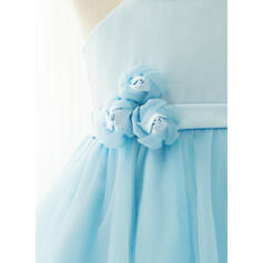 Vestidos princesa/ Formato A Coquetel Vestidos de Menina das Flores - Cetim/Tule Sem magas Decote quadrado com fecho de correr (Envoltório incluídas) (010122574)
