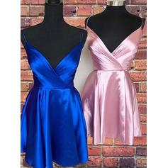 Ruffle V-neck Satin A-Line/Princess Homecoming Dresses (022219327)