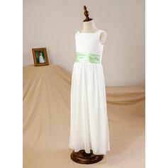Forme Princesse Longueur cheville Robes à Fleurs pour Filles - Mousseline/Satiné Sans manches Encolure carrée avec Ceintures (010093740)