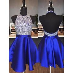 A-Line/Princess Halter Sleeveless Short/Mini Beading Homecoming Dresses