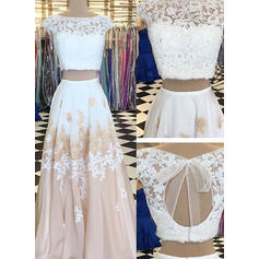 A-Line/Princess Scoop Neck Chiffon Sleeveless Floor-Length Lace Beading Appliques Lace Evening Dresses