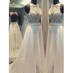 Flattering Scoop A-Line/Princess Wedding Dresses Sweep Train Chiffon Sleeveless