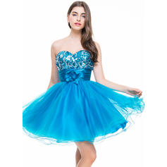 A-Line/Princess Sweetheart Short/Mini Homecoming Dresses With Ruffle Flower(s)
