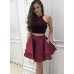 A-Line/Princess Halter Short/Mini Cocktail Dresses With Ruffle (016218455)
