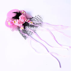 "Fascinators/Flowers & Feathers Wedding/Special Occasion/Party Silk Flower/Satin 3.94""(Approx.10cm) 3.94""(Approx.10cm) Headpieces"