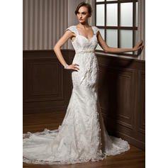 Trumpet/Mermaid Sweetheart Chapel Train Wedding Dresses With Beading Appliques Lace Bow(s)