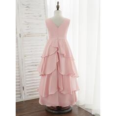 Corte A Longos Vestidos de Menina das Flores - Chiffon Acetinado Sem magas Decote redondo com Pregueado (010172371)