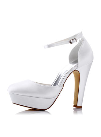 Women's Pumps Sandals Chunky Heel Silk Like Satin With Buckle Hollow-out Wedding Shoes (047208662)