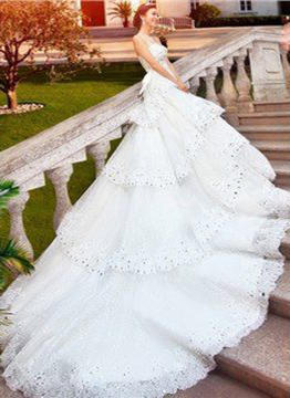 Ball-Gown Sweetheart Royal Train Wedding Dress With Beading Sequins Bow(s)