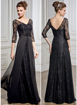 A-Line/Princess Chiffon Lace 1/2 Sleeves V-neck Floor-Length Zipper Up Mother of the Bride Dresses