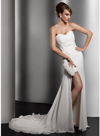 Flattering Chapel Train A-Line/Princess Wedding Dresses Sweetheart Chiffon Sleeveless