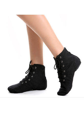 Women's Jazz Flats Boots Canvas Dance Shoes