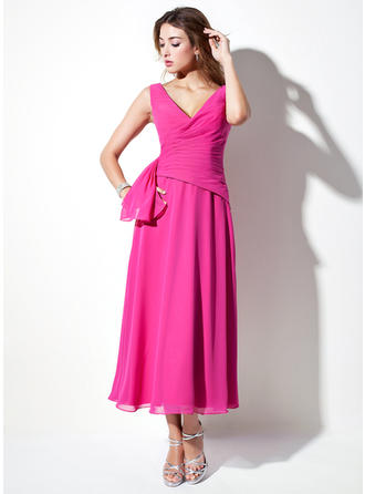 A-Line/Princess V-neck Tea-Length Bridesmaid Dresses With Ruffle