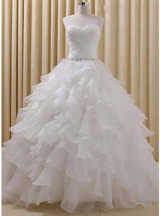Ball-Gown Sweetheart Court Train Wedding Dress With Beading