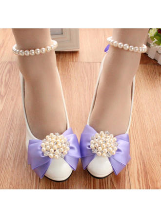 Women's Closed Toe Pumps Stiletto Heel Leatherette With Imitation Pearl Flower Wedding Shoes