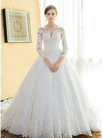 Ball-Gown Scoop Floor-Length Cathedral Train Wedding Dress With Lace Beading Appliques Lace