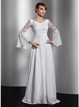 Chiffon Long Sleeves Mother of the Bride Dresses V-neck A-Line/Princess Lace Beading Chapel Train