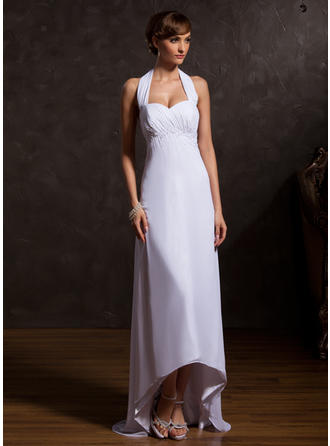 Chiffon Sleeveless Mother of the Bride Dresses Halter Empire Ruffle Beading Asymmetrical