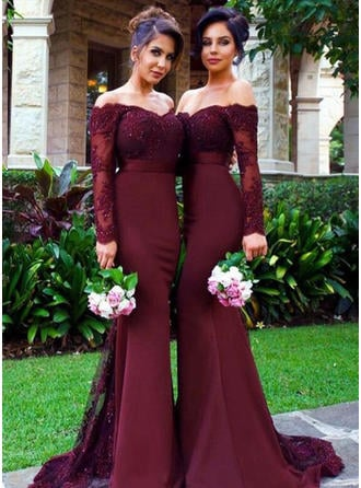 Trumpet Mermaid Satin Bridesmaid Dresses Lace Off-the-Shoulder Long Sleeves  Sweep Train 70013e220fd0