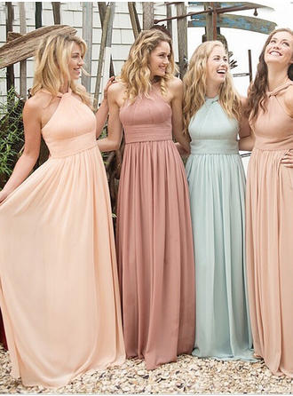 Bridesmaid Dresses Scoop Neck A-Line/Princess Sleeveless Floor-Length (007145086)