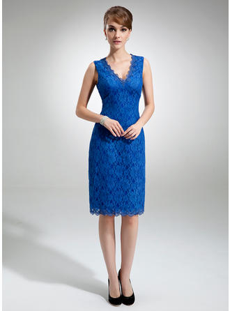 Sheath/Column V-neck Lace Newest Mother of the Bride Dresses