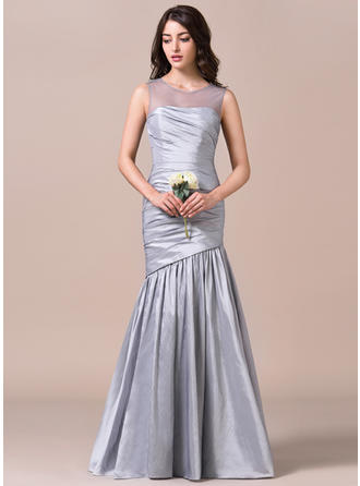 Taffeta Sleeveless Trumpet/Mermaid Bridesmaid Dresses Scoop Neck Ruffle Floor-Length