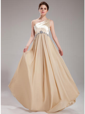 A-Line/Princess One-Shoulder Floor-Length Prom Dresses With Ruffle Beading