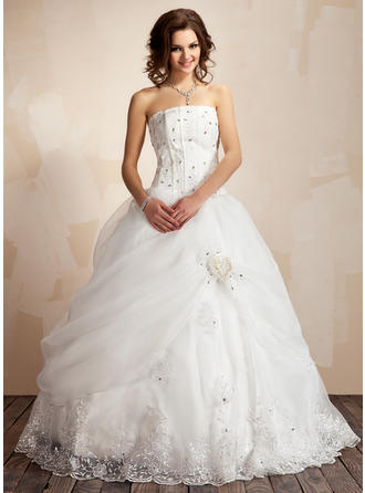 Satin Organza Ball-Gown Princess Ruffle Lace Beading Flower(s) Wedding Dresses